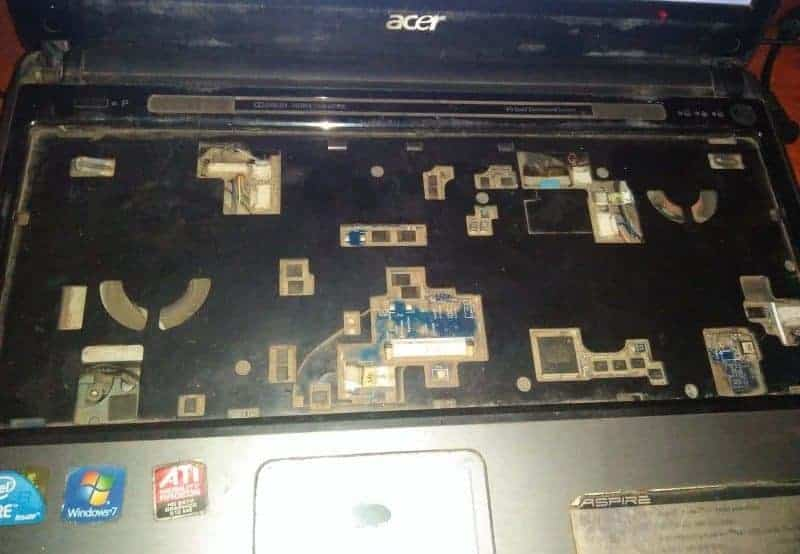 Dusty Laptop Motherboard Chassis