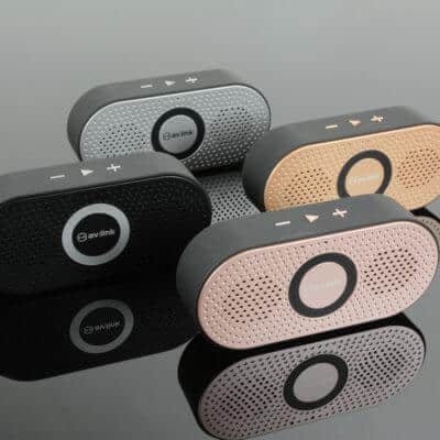 Portable Bluetooth speakers lined up