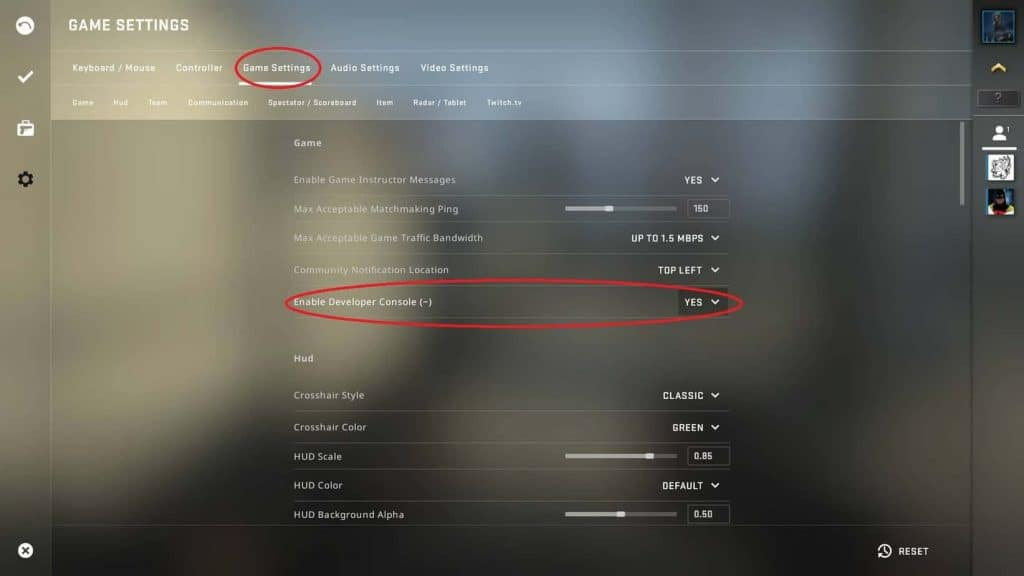 CSGO Game Settings Enable Developer Console