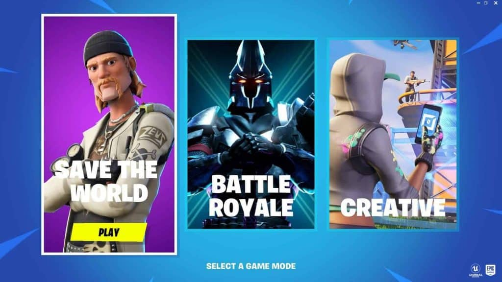 Fortnite Season X Select Game Mode Screen