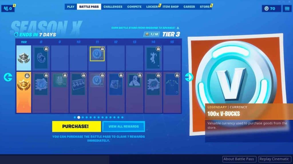 Fortnite Season X Free Tier V-bucks