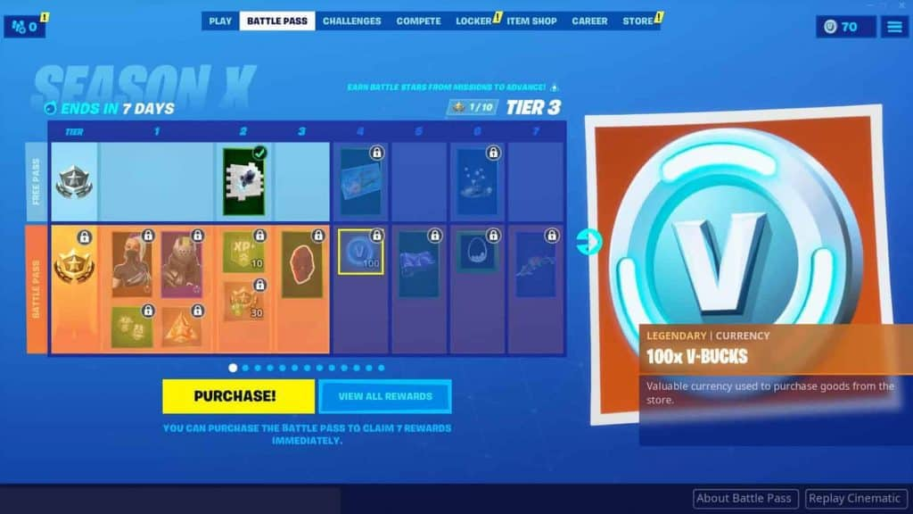 Fortnite Battle Pass Tier V-bucks