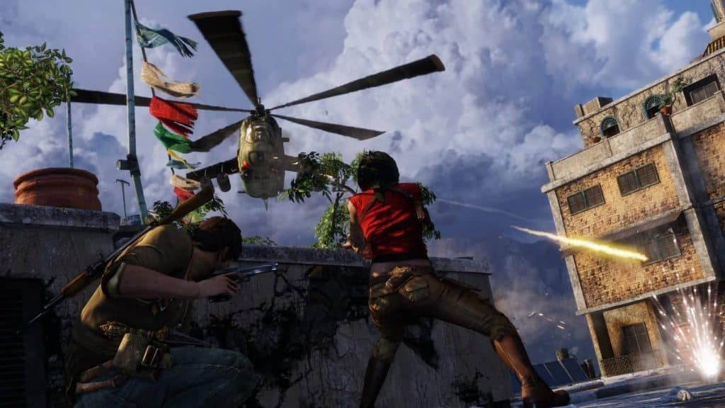 Uncharted: The Nathan Drake Collection – Drake and Chloe fighting a helicopter