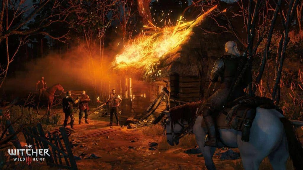 The Witcher 3: Wild Hunt - Geralt fighting villagers
