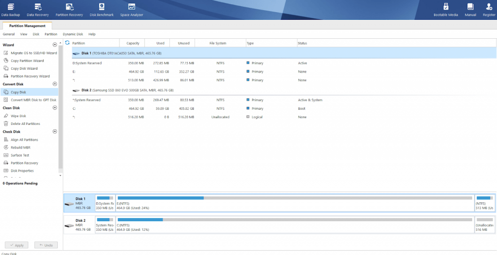 Target drive to install Windows 10 on an SSD