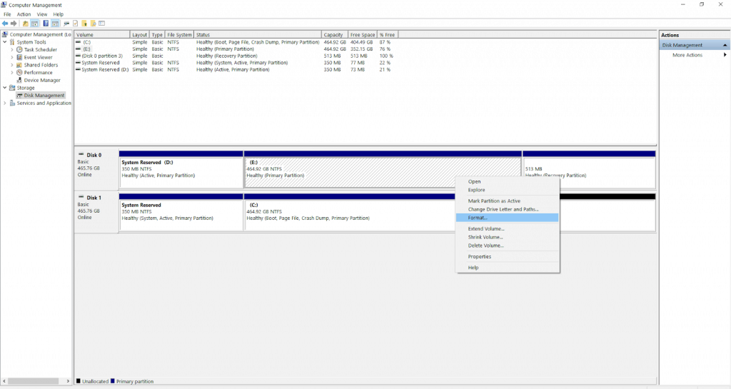 Disk Management to install windows 10 on an SSD