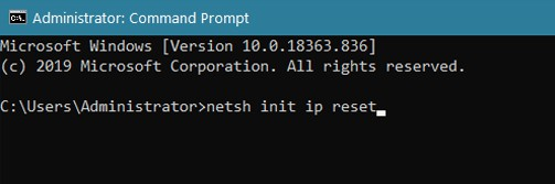 CMD netsh init ip reset