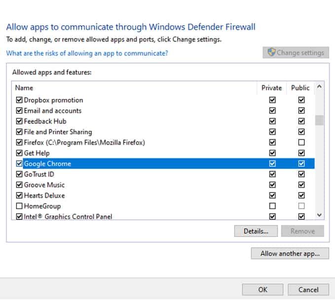 google chrome windows firewall