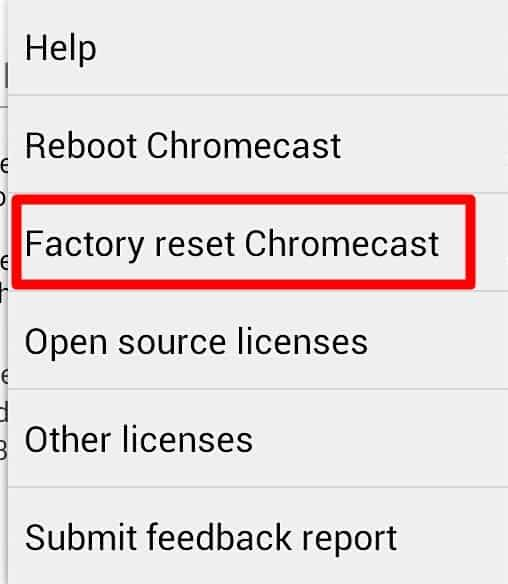 factory resetting Chromecast when it's flashing red